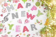 Decoraciones del Año Nuevo de Decoupage hechas del papel Fotografía de archivo libre de regalías