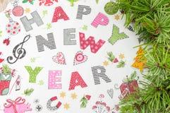Decoraciones del Año Nuevo de Decoupage hechas del papel Fotos de archivo