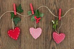 Decoraciones del corazón de la Navidad Fotos de archivo