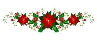 Decoraciones del día de fiesta de la Navidad con la poinsetia stock de ilustración