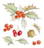 Decoraciones del día de fiesta de la Navidad fijadas Imagenes de archivo