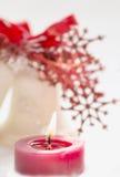 Decoraciones del día de fiesta para la vela del Año Nuevo de la Navidad Imagen de archivo libre de regalías