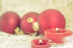 Decoraciones del día de fiesta para la vela del Año Nuevo de la Navidad Fotografía de archivo