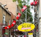 Decoraciones del festival de Racia en Barcelona Imágenes de archivo libres de regalías