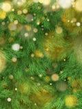 Decoraciones del fondo del árbol de navidad con empañado, chispeando, luz que brilla intensamente Plantilla de la Feliz Año Nuevo stock de ilustración