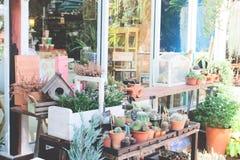 Decoraciones del jardín con la casa del pájaro y las pequeñas plantas Imágenes de archivo libres de regalías