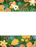 Decoraciones del pan de jengibre del pan de jengibre y del Año Nuevo aisladas en fondo del color fotografía de archivo