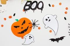 Decoraciones del papel del partido de Halloween Fotografía de archivo libre de regalías