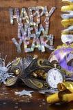 Decoraciones del partido de la Feliz Año Nuevo Fotos de archivo libres de regalías