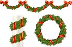 Decoraciones del pino de la Navidad Fotografía de archivo
