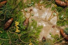 Decoraciones del ` s del Año Nuevo en ramas de la arpillera y de árbol Fotografía de archivo libre de regalías
