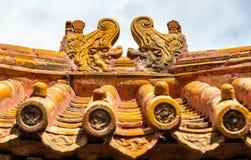 Decoraciones del tejado en la ciudad Prohibida, Pekín Imagen de archivo libre de regalías