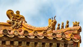 Decoraciones del tejado en la ciudad Prohibida, Pekín Foto de archivo