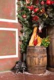 Decoraciones del vintage de Navidad con el árbol, la madera, los patines, y el pan Imágenes de archivo libres de regalías