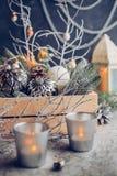 Decoraciones del vintage por la Navidad y el Año Nuevo Fotografía de archivo libre de regalías
