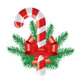 Decoraciones elegantes de la Navidad con el bastón de caramelo Fotos de archivo