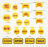 Decoraciones en línea amarillas de la tienda Imagen de archivo
