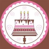 Decoraciones en la torta de cumpleaños Imagen de archivo libre de regalías