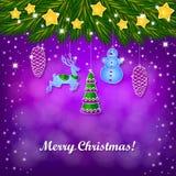 Decoraciones, estrellas y árbol de navidad de la Navidad Foto de archivo libre de regalías