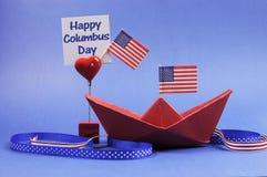 Decoraciones felices de Columbus Day Imágenes de archivo libres de regalías