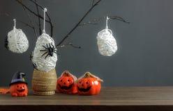 Decoraciones festival del feliz Halloween y concepto del postre Imagen de archivo libre de regalías