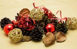 Decoraciones festivas de la Navidad Fotos de archivo