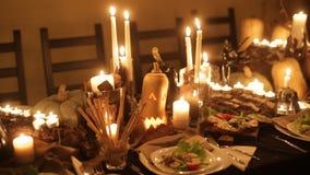Decoraciones festivas de la tabla para Halloween metrajes