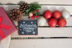 Decoraciones fijadas para las celebraciones dulces de la Navidad Foto de archivo libre de regalías