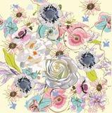 Decoraciones florales con las peonías, las rosas y las dalias stock de ilustración
