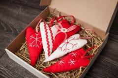 Decoraciones hechas a mano del árbol de navidad Foto de archivo