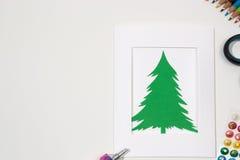 Decoraciones hechas a mano del Año Nuevo Tarjeta de Navidad Fotografía de archivo