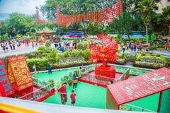 Decoraciones hermosas en el templo de Thean Hou en Kuala Lumpur Foto de archivo libre de regalías