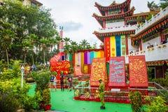 Decoraciones hermosas en el templo de Thean Hou en Kuala Lumpur Imagen de archivo libre de regalías