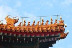 Decoraciones imperiales Pekín del tejado Imágenes de archivo libres de regalías