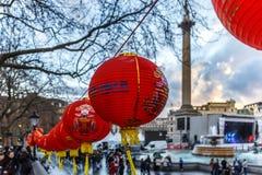 Decoraciones lunares del Año Nuevo en el cuadrado de Trafalgar Foto de archivo libre de regalías