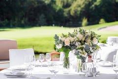 Decoraciones para la ceremonia de boda Florece el primer Imagenes de archivo