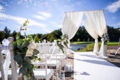 Decoraciones para la ceremonia de boda Florece el primer Fotografía de archivo