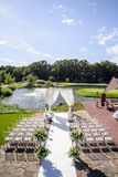 Decoraciones para la ceremonia de boda Florece el primer Foto de archivo libre de regalías