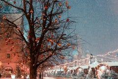 Decoraciones por Año Nuevo y días de fiesta Bolas de la Navidad en ramas de árbol cerca a la catedral del ` s de la albahaca del  Foto de archivo