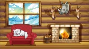 Decoraciones principales rellenas en la sala de estar cerca de la chimenea libre illustration