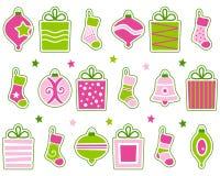 Decoraciones retras de la Navidad fijadas Imagen de archivo libre de regalías