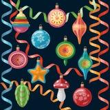 Decoraciones retras de la Navidad fijadas Foto de archivo libre de regalías