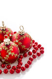 Decoraciones rojas de la Navidad Fotos de archivo