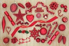 Decoraciones rojas de la Navidad Foto de archivo