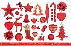 Decoraciones rojas de la Navidad Imágenes de archivo libres de regalías