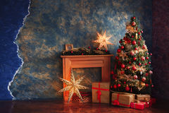 Decoraciones rojas y amarillas del árbol de navidad Fotografía de archivo