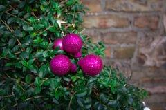 Decoraciones rosadas de la Navidad en árbol Fotografía de archivo