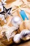 Decoraciones y estrella Imagen de archivo libre de regalías