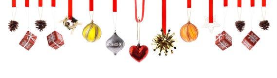 Decoraciones y ornamentos de la Navidad aislados Foto de archivo libre de regalías