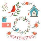 Decoraciones y pájaros de la Navidad Fotos de archivo